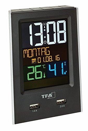 TFA Dostmann 60.2537.01 Charge-IT draadloze wekker met USB-oplaadfunctie zwart met batterijen
