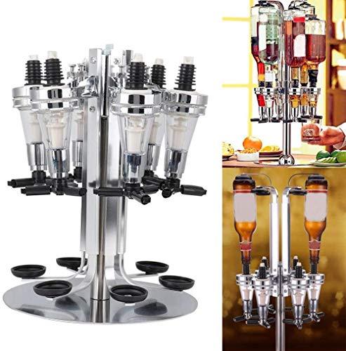 YYHJ 4/6 Flaschen Spirituosen-Spender Rotationsstange Getränkeständer 4/6-Wege-Drehständer Chrombeschichteter optischer Schnaps Cocktailspender Flaschenbar Caddy Shooter für Home Bar Butler