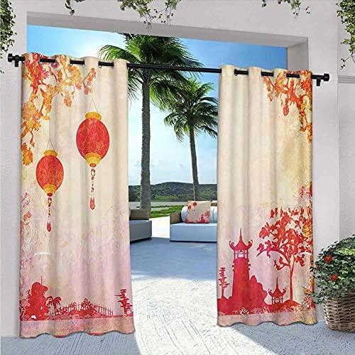 Lanterna esterna Patio Tende, Paesaggio Cinese con Lanterne e Pagoda Spiritualità Meditazione Habitat, Per Casale Cottage Gazebo Terrazza W84 X L72 Inch Arancione Rosso