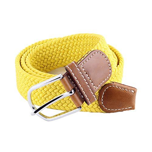 BOZEVON elastischer gewebter Gürtel - Mehrfarbiger elastischer geflochtener Stretchgewebe-Gürtel für Herren Damen Gelb