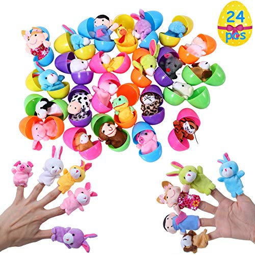 FunsLane 24pcs Easter Eggs Filled with Finger Puppets for Toddlers, 2.36 Inches Bright Colorful Plastic Easter Eggs for Kids Pinata Toys, Party Game Prizes, Goodie Bag Fillers