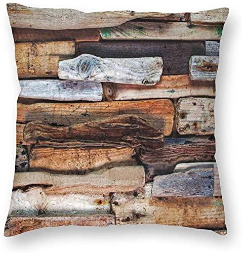 Tema de Madera Madera Flotante y tablones nudosos en el Estilo Vintage Diseño Imagen Digital, Funda de Almohada Funda de Almohada Impresa Cuadrada Decorativa 18 x 18 Pulgadas