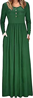 SERYU Loose Party Dress For Women O Neck Floor Length Dress With Pocket