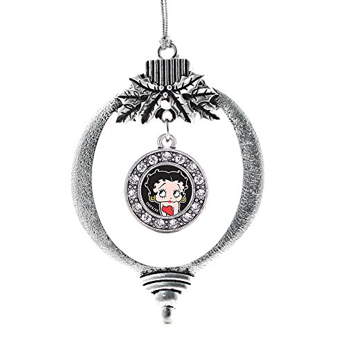 Inspired Silver - Betty Boop Charm Ornament - Silver Circle Charm Holiday Ornaments with Cubic Zirconia Jewelry