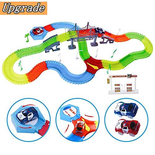 Innoo Tech Car Racing Track, Magic Tracks Luminous for Kids, Twister Tracks Starter Set, 2 Light Up Cars Playset- Racing Cars Construction Toy For Boys or Girls