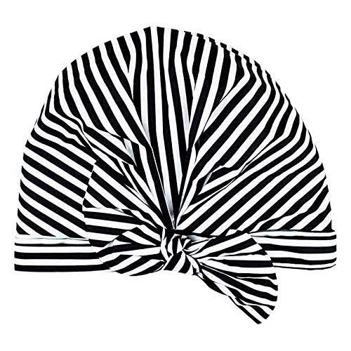 ACAMPTAR Bonnet de Douche de pour Femmes - ImperméAble et RéSistant Aux Moisissures, Bonnets de Douche RéUtilisables (Rayures Noires et Blanches)