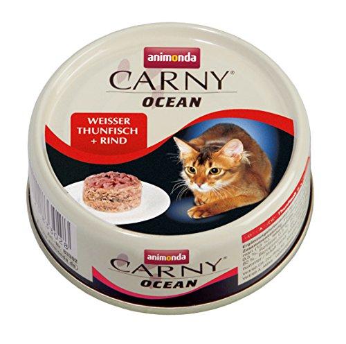 animonda Carny Ocean Katzenfutter,  Nassfutter für Katzen, Weißer Thunfisch + Rind, 12 x 80 g