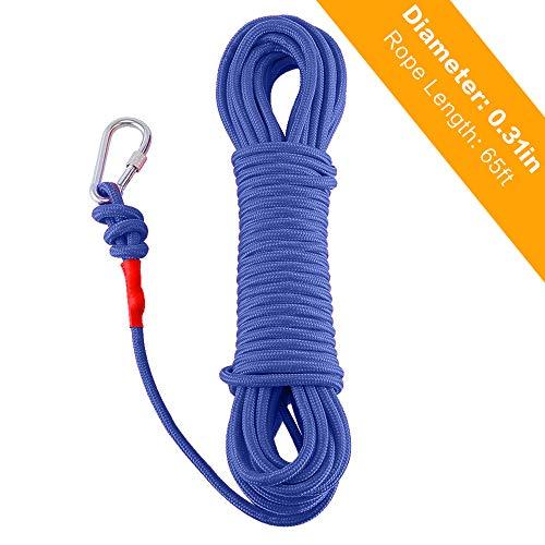 Ant Mag 8mm 20m Kletterseil Fischerei Bergung Seil mit Karabiner Outdoor Seil Allzweckseil für Magnetfischen Feuerrettung Hoher Festigkeit Sicherhe (Blau 8mm 20m)
