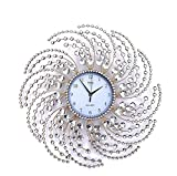 Wall Clock Large Metal Crystal Decorative Circle Fancy Wall Cock Designs for Living Room,Bathroom,Kitchen