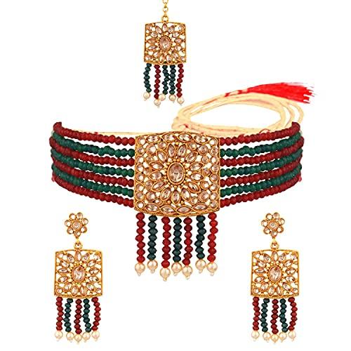 Efulgenz Juego de joyas indias con perlas de imitación de cristal, collar y pendientes de perlas de imitación de varias capas, Metal, desconocido,