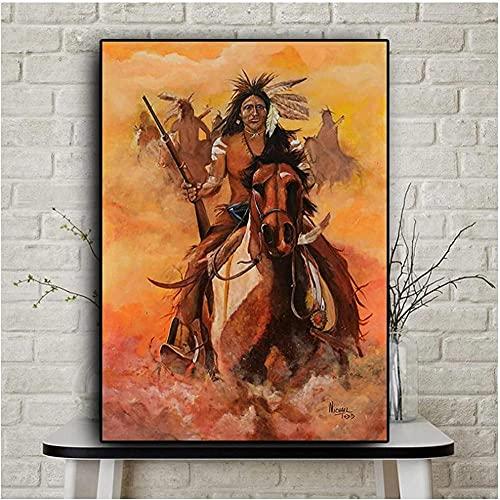 liujiu Pintura al óleo abstracta del caballo de la pluma de la India nativa en carteles de la lona e impresiones Cuadros Imagen de la pared del arte para la habitación-Unframed_40x70cm