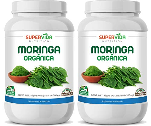 Moringa Orgánica 180 Cápsulas (2 Frascos de 90 Cápsulas Vegetales de 500 mg MORINGA) | SuperVida Nutrition - Suplementos 100% Naturales