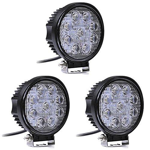 Leetop 3X 27W LED Phare de Travail étanche IP67 Rond Rampe à LED Longue Portée pour Véhicule Tout-terrain Camion Bateau etc.