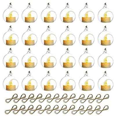 Nuptio 24 Pcs Mini Hanging Glass Tealight Globe Candle Holder with LED Candle, 2.36 Inches Diameter, Wedding Party Tree Decoration (20 Pcs + 4 Pcs)