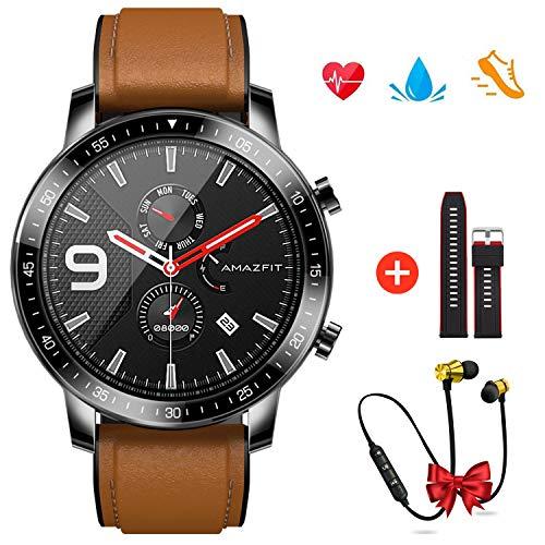 Montre Connectée Homme Femme, Smartwatch Bracelet Connecté Moniteur de Fréquence Cardiaque Podomètre Moniteur Calories Fitness Tracker pour iPhone Samsung Huawei xiaomi Téléphone (Marron)