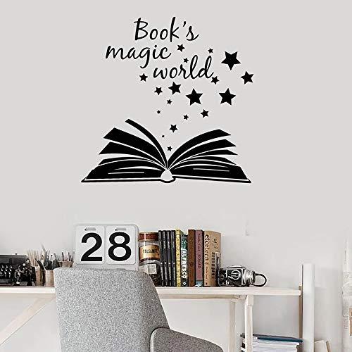 HGFDHG Cita calcomanías de Pared Libro mágico Abierto Sala de Lectura Biblioteca librería Aula Sala de Estudio Vinilo Ventana Pegatinas Estrella Arte Mural