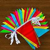 LEBENSWERT Wimpel Girlande 200 Bunting Banner Wimpelkette Stoff 100M Nylon Dreieck Dekoration Fahnen Set 22*35 cm für Geburtstag Party Hochzeit