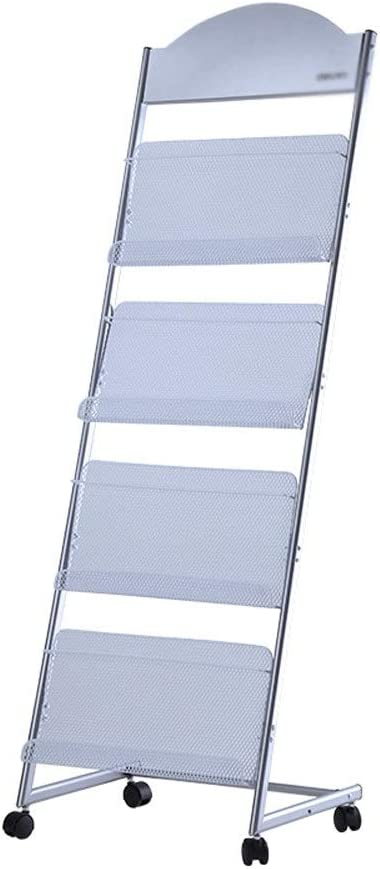 Silver Sacramento Mall Be super welcome Iron Brochure Display Rack Magazin 4-Layer Roller Movable