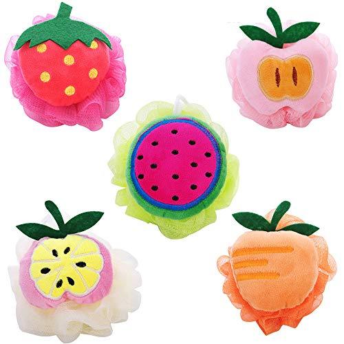 Kaxich 5 Stück Badeschwamm Badeknäuel Fruchtform Seifschwamm Duschschwamm Massageschwamm für Kinder und Erwachsene