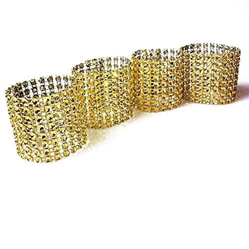 Daily Accessories 10pcs Gold Silver Napkin Ring Chairs Buckles Wedding Event Decoration Crafts Rhinestone Bows Holder Handmade Party Supplies (Color : Gold)