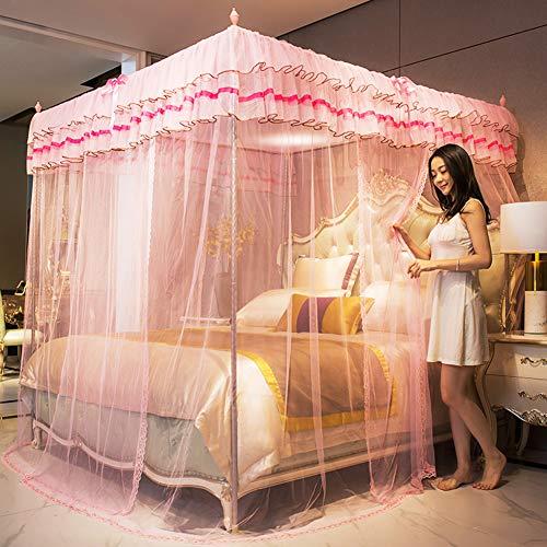 Girl Princess Mosquito Net, Lace Mosquito Net 3 Open Door Design, 380 Mesh, 360 ° gesloten voor tweepersoonsbed tot kingsize bed Luxe klamboe