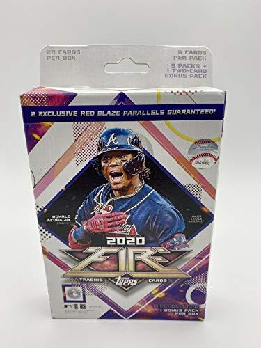 2020 Topps Fire Baseball Hanger Box 3 Packs Plus 1 Bonus Pack Exclusive Red Blaze 20 Total Trading Cards