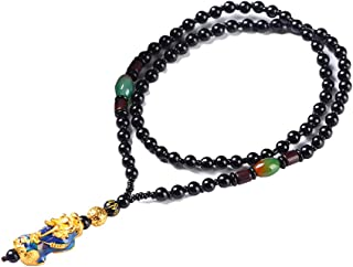Feng Shui Lucky Nafu Wealth Necklace Pi Xiu Pi Yao Black Beads Friendship Necklace Handmade Braided Rope Gold Plated Neckl...
