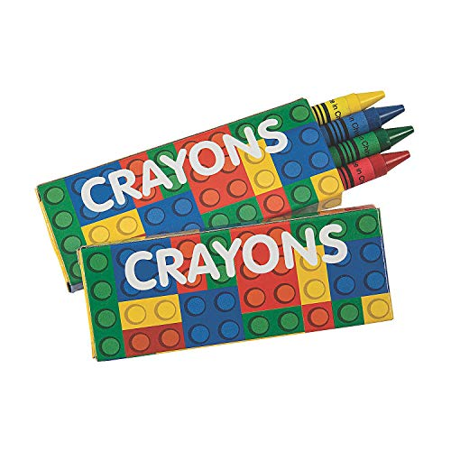 Fun Express Brick Party Crayons - 24 Pieces - Educational and Learning Activities for Kids