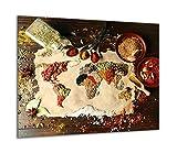 TMK | Placa de cristal para cubrir la cocina de 60 x 52 cm, una sola pieza, protección contra salpicaduras, placa de cristal, tabla de cortar, madera y especias