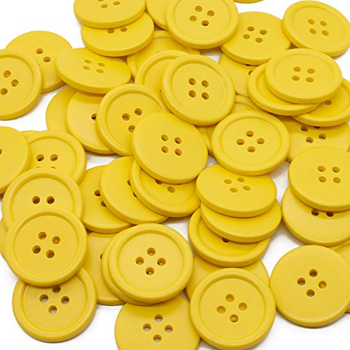 Raydodo 50 PCS 25mm 1 Inch Buttons for Crafts, Large Buttons 4 Hole Round Sewing Buttons Spray Colored Craft Buttons for Sewing Scrapbooking and DIY Crafts (Yellow)