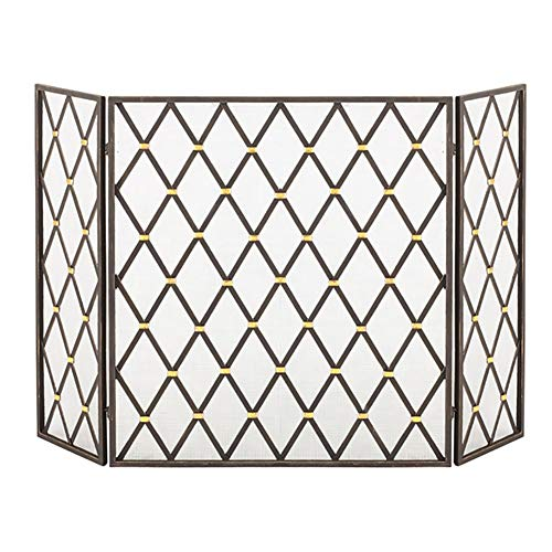 Buy HYDT Black Fireplace Fence, Wrought Iron Black Rhombus Fireplace Screen Partition, European Styl...