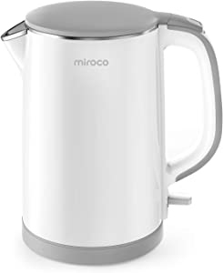 Electric Kettle, Miroco Double Wall 100% Stainless Steel Cool Touch Tea Kettle with 1500W Fast Boiling Heater, Cordless with Auto Shut-Off & Boil Dry Protection, BPA-Free, White