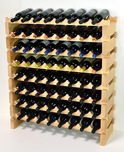 sfDisplay.com,LLC. Modular Wine Rack Beechwood 32-96 Bottle Capacity 8 Bottles Across up to 12 Rows Newest Improved Model (64 Bottles - 8 Rows)