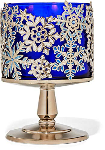 3-Wick Candle Holder Compatible with Bath & Body Works White Barn 3-Wick Candles -Holiday Styles 2020 - Pick Your Favorite! (Candle NOT Included) (Jeweled Snowflake Pedestal)
