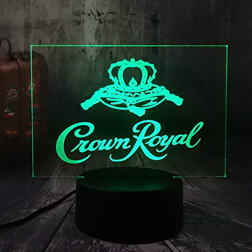 Nieuwe Crown Royal Logo Whisky Wijn 3D LED nachtlampje tafel bureaulamp Home Room Office Decor Nieuwjaar Kerstmis