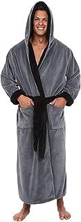 Mens Plush Robe Shawl Collar Winter Contrast Long Sleeve Pockets Long Hooded Bathrobe Plus Size Night Gown
