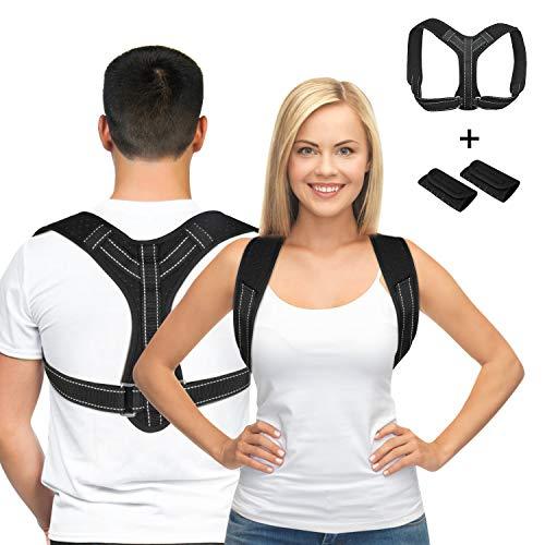 Gifort Haltungskorrektur Rücken,Geradehalter zur Haltungstrainer,Damen Herren Einstellbar Rückentrainer Rückenstütze gegen Nacken Schulterschmerzen (mit 2 Schulterpolster)