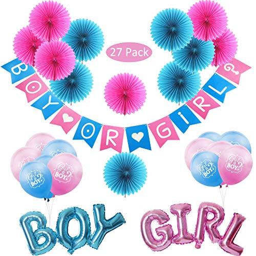 DreamJing Boy oder Girl Luftballons Gender Reveal Party Banner Dekoration,27 Stück Latex Ballons/Blau Boy Folienballon Rosa Girl Balloon/Papierfächer für Baby-Dusche,Junge Mädchen Foto Requisite