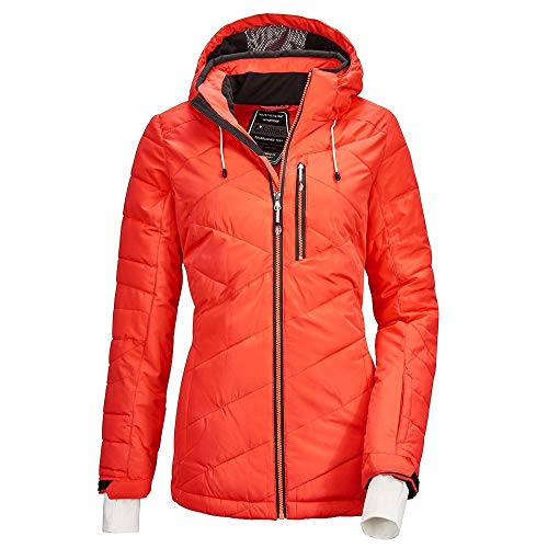 Killtec, giacca da donna Savognin Wmn trapuntata, con cappuccio rimovibile e paraneve, Donna, 36125-000, Corallo fosforescente., 44