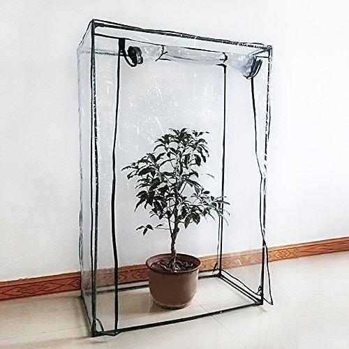 ZSL Serre Mini Plante Coque Tomate Tente de Jardin en PVC Vert Maison Maison Plante Serre Coque Solution Portable Intérieur Extérieur pour Faire Pousser Graines, semis, Plantes en Pot (sans Support)