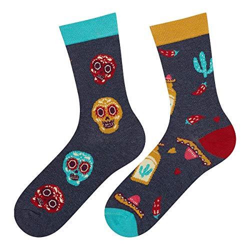 soxo Damen Bunte Muster Socken | Größe 35-40 | Motivsocken aus Baumwolle | Lustige Geschenk für Frauen (Mexiko)