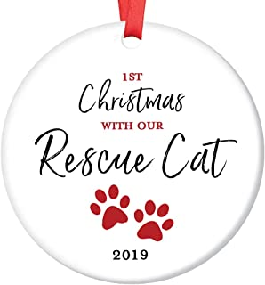 Rescue Cat Ornament 2019 Pet Adoption Holiday Tree First Year 1st Christmas New Forever Home Kitty Kitten Adopted Ceramic Collectible Present 3