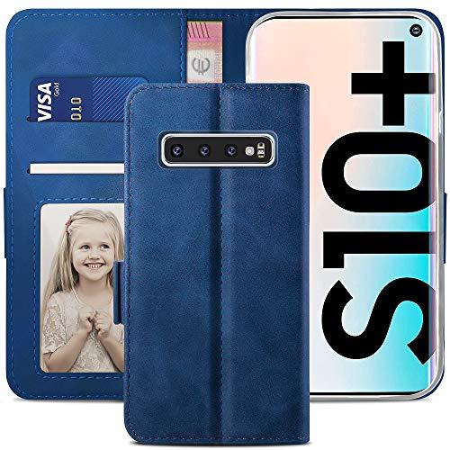 YATWIN Funda Samsung Galaxy S10 Plus, Cuero Premium Flip Folio Carcasa para Libro Samsung S10 Plus, Soporte Plegable, Ranura para Tarjeta, Cierre Magnético, Funda Galaxy S10+ Plus, Azul