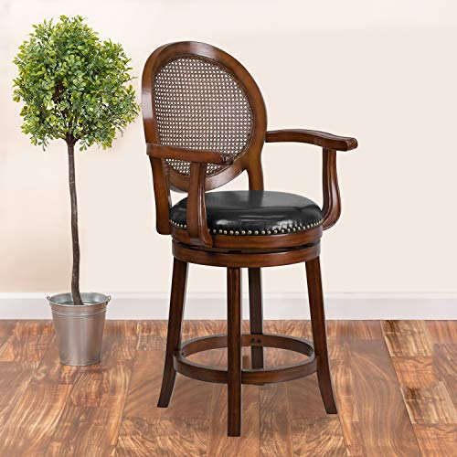 Flash Furniture 26'' High Expresso Wood Counter Height Stool with Arms, Woven Rattan Back and Black LeatherSoft Swivel Seat