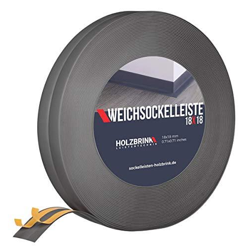HOLZBRINK Weichsockelleiste selbstklebend, Dunkelgrau, Knickleiste aus PVC, 18x18mm, 10 Meter