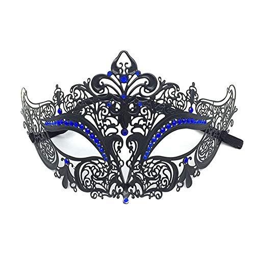 Lumanuby. Máscara de Encaje para Carnaval Mascarada Make Up Party Veneciano Antifaz Encaje máscara Masquerade de Metal Recorte Diamante,Diamante Azul Negro