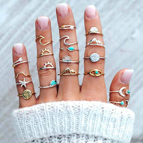 Flrora Boho Moon and Star Finger Rings Gold and Silver Sun Starfish Joint Knuckle Rings Mountain Ring Set Jewelry Accessories for Women and Girls (19 pcs)