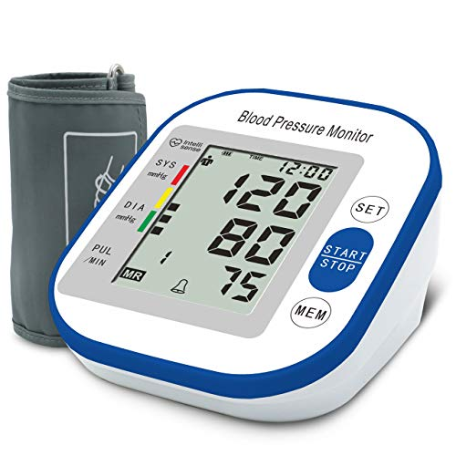 Blood Pressure Monitor, Digital Automatic Accurate Arm Cuff Portable Irregular Heartbeat Monitor 99+ Set Memory with Large LCD Display and Adjustable Cuff for Home Use