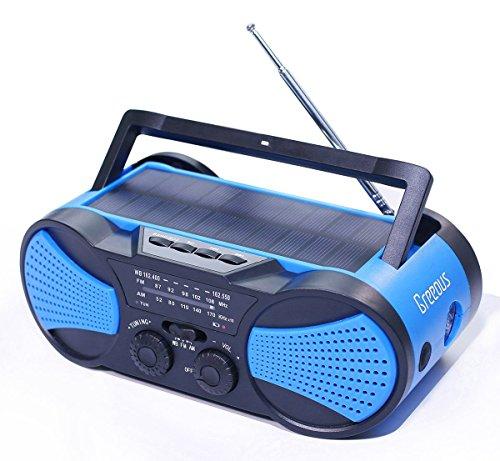 Hurricane Radio Weather Radio,Waterproof, Hand Crank, Solar/Battery Powered, 4000mAh AM/FM/NOAA/SOS Alert,Portable Emergency Cellphone Charger,Music Speaker,Flashlight& Reading Lamp,Blue,Greeous