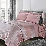 Sienna Glitter Copripiumino con federa per cuscino, set di biancheria da letto in velluto, colore: rosa cipria
